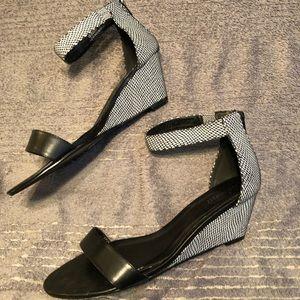 Black and White Snakeskin Sandals